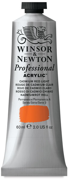 Winsor & Newton Professional Acrylics, 60 ml Tube, Cadmium Red Light