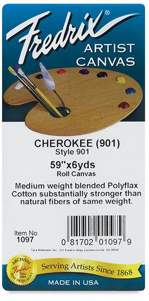 Style 901 Polyflax Acrylic Primed Cherokee Portrait Cotton Canvas, Roll