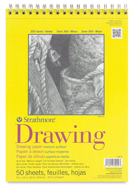 "Drawing Pad, Wire Bound, 50 Sheets, 9"""" × 12"""""