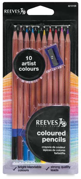 Colored Pencils, Set of 10 w/ Sharpener