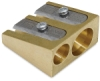 Wedge Brass Pencil Sharpener, Double Hole