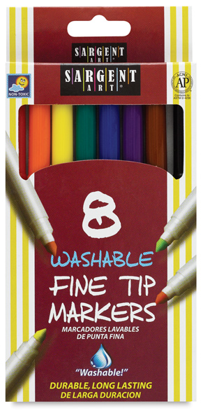 Fine Tip Washable Markers, Set of 8