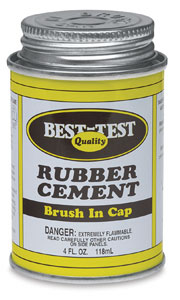 Rubber Cement, Metal Can with Brush