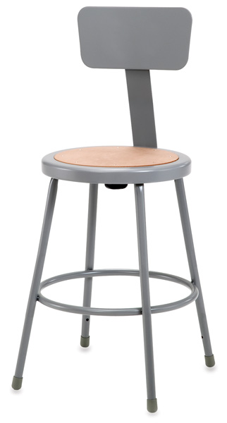 Fixed Height Stool with Backrest, Gray