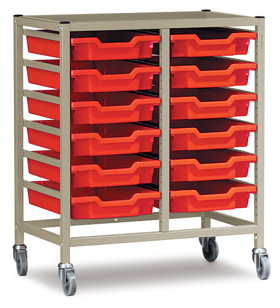Double Column Cart, Shown with Small Trays