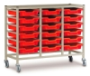 Triple Column Cart, Shown with Small Trays