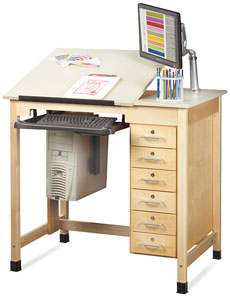Drawing/CAD Table with 6 Drawers