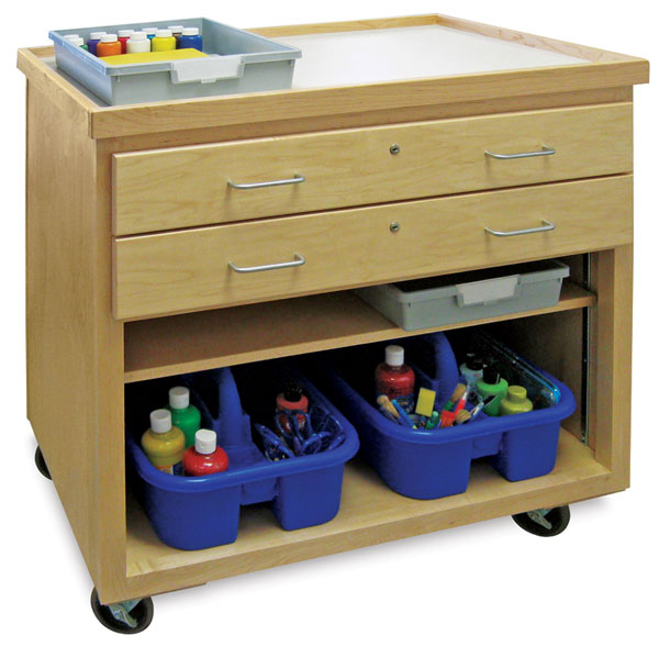 Mobile Arts Storage Cart without Doors (Accessories Not Included)