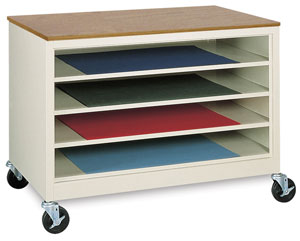 paper storage cabinet with 4 shelves, storing and organizing art