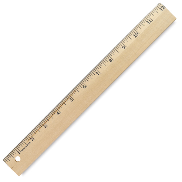 Wood Ruler with Metal Edge