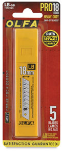 Olfa PRO18mm Heavy-Duty Snap-Off Blades, Pkg of 5