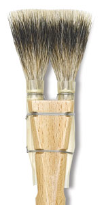 Luco Double Badger Square Brushes Image 1026