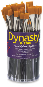 Dynasty Finest Golden Synthetic Flat Brushes Photo